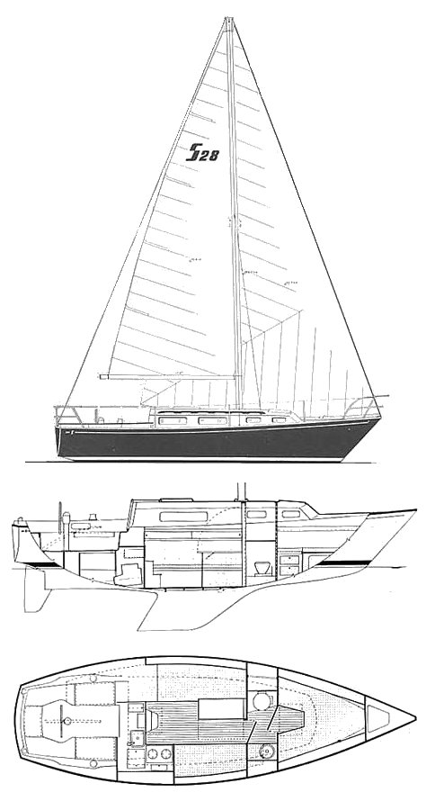Sabre 28-1 drawing on sailboatdata.com