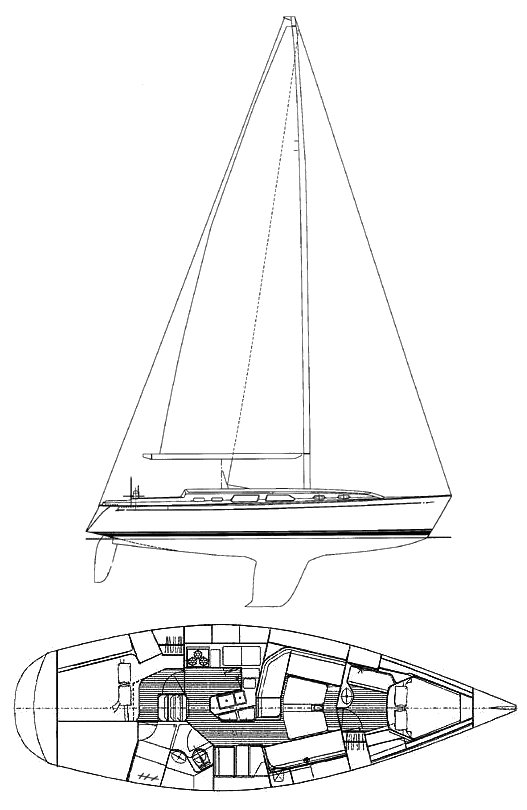 Sabre 402 drawing on sailboatdata.com