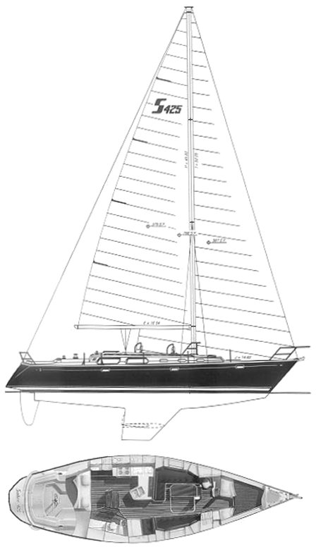 Sabre 425 drawing on sailboatdata.com