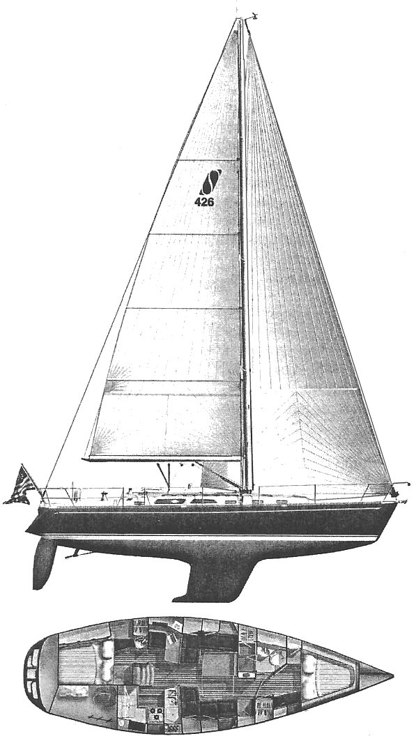 Sabre 426 drawing on sailboatdata.com