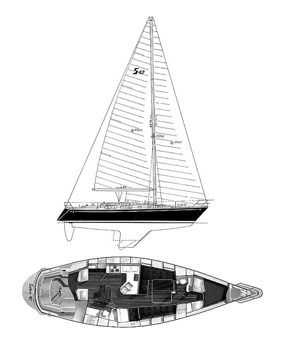 Sabre 42 drawing on sailboatdata.com