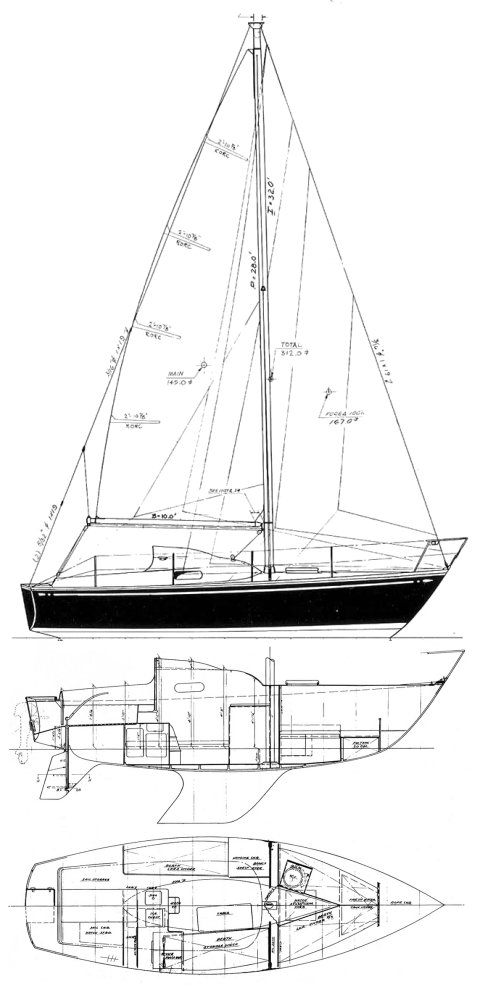 Sagitta 26 drawing on sailboatdata.com