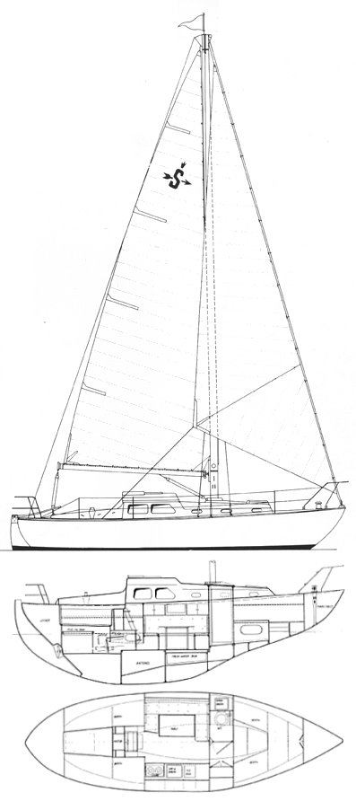 Sagitta 30 drawing on sailboatdata.com