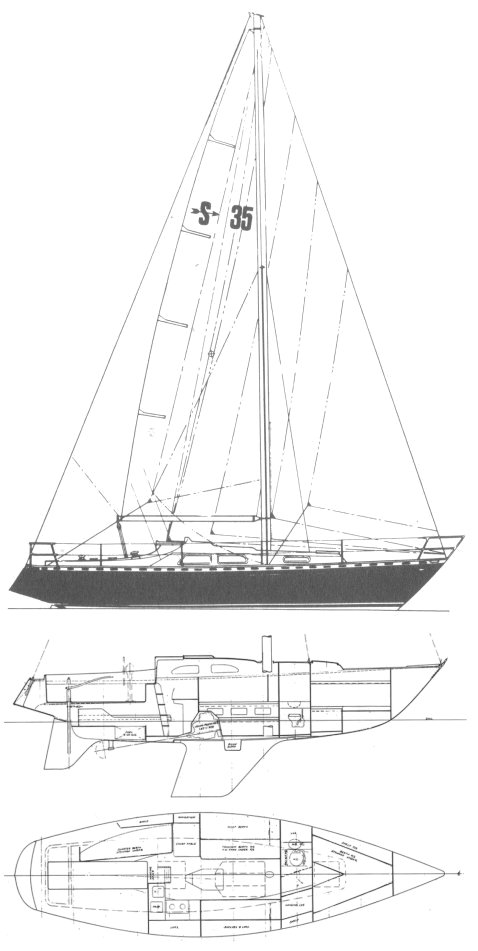 Sagitta 35 drawing on sailboatdata.com