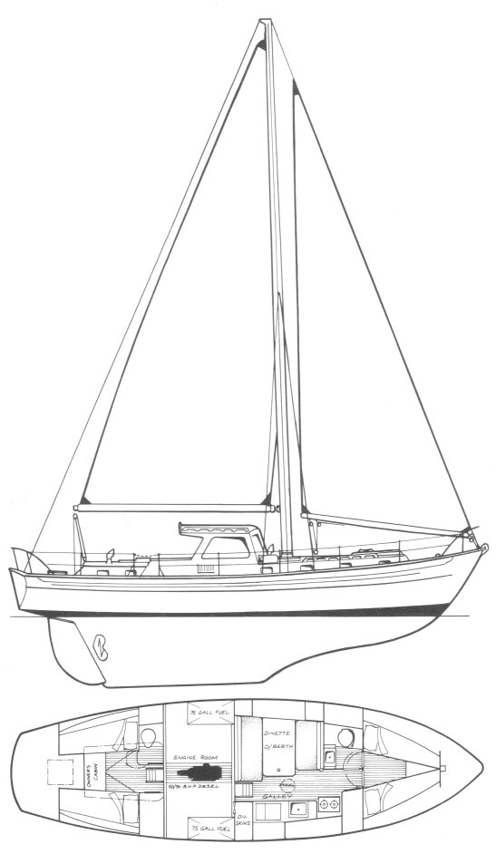Salar 40 drawing on sailboatdata.com