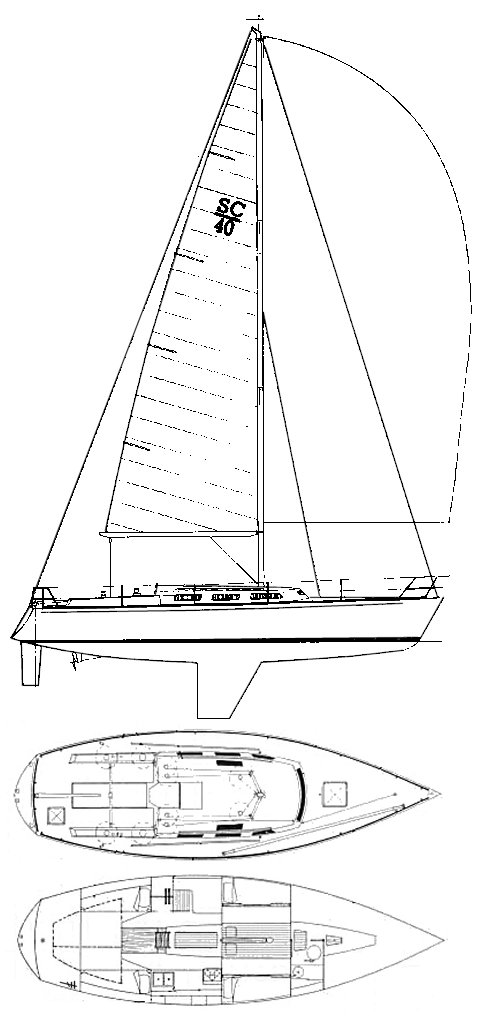 Santa Cruz 40 drawing on sailboatdata.com