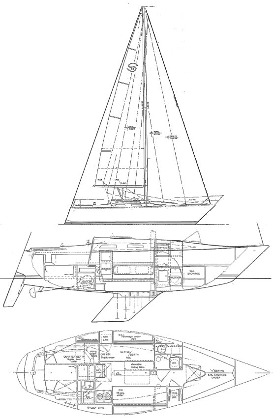 Santana 30 drawing on sailboatdata.com