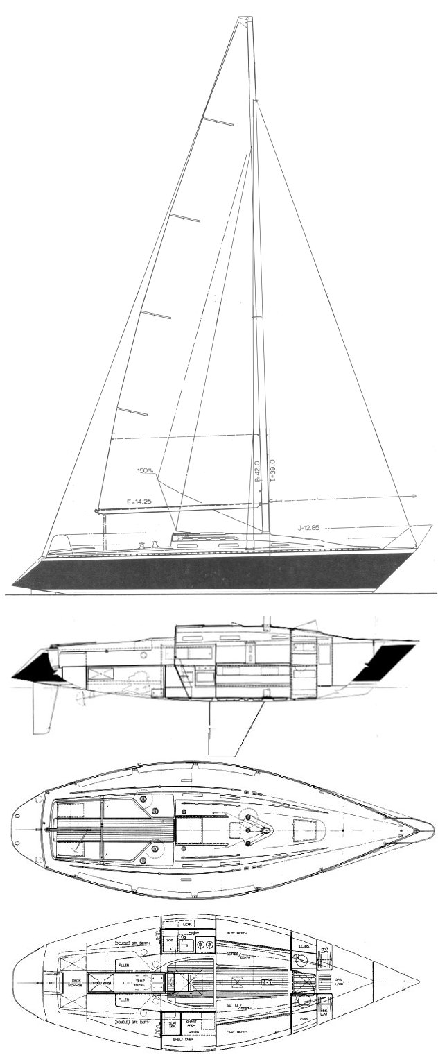 Santana 35 drawing on sailboatdata.com