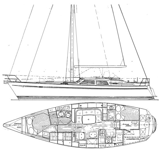 Scepter 41 drawing on sailboatdata.com