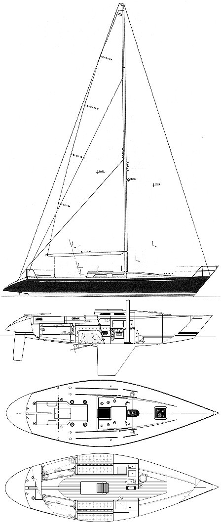 Schock 41 drawing on sailboatdata.com