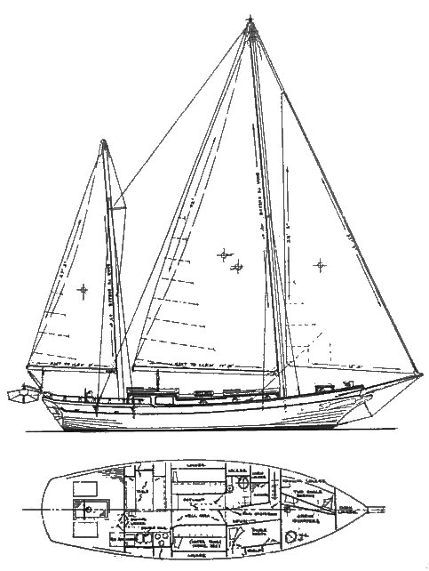 Sea Wolf 40 drawing on sailboatdata.com