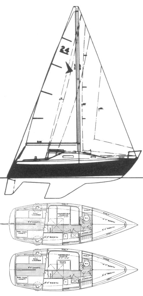 Seafarer 24 drawing on sailboatdata.com