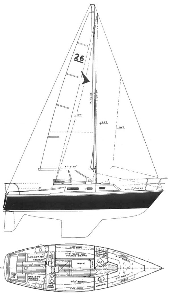 Seafarer 26 drawing on sailboatdata.com