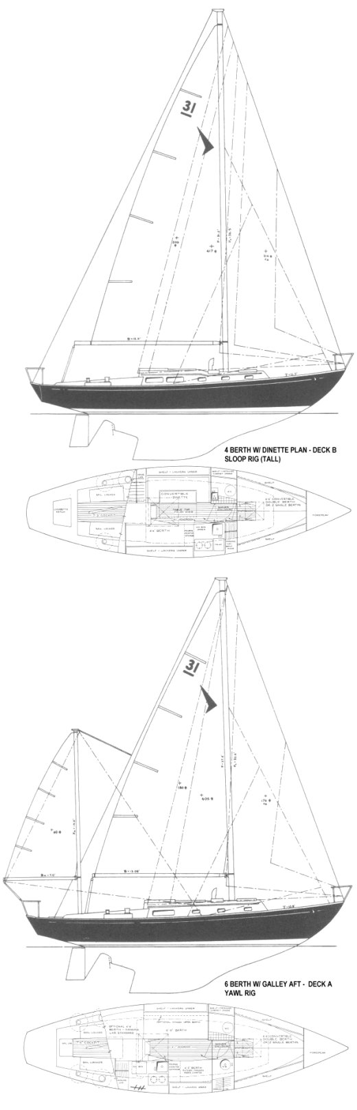 Seafarer 31-1 drawing on sailboatdata.com