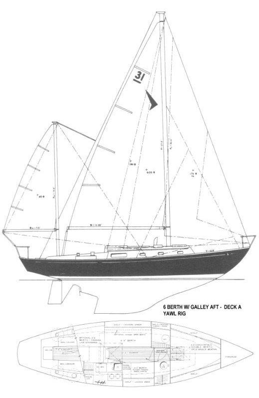 SEAFARER 31 MKI YAWL drawing