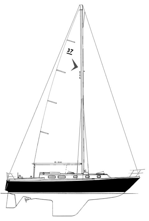 Seafarer 37 drawing on sailboatdata.com