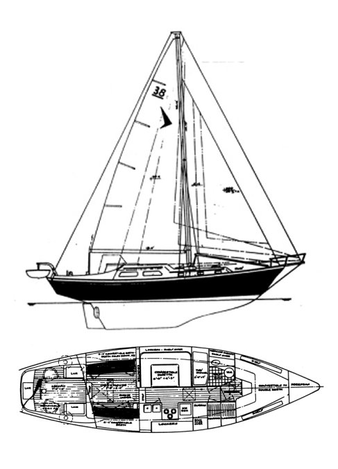 Seafarer 38 drawing on sailboatdata.com