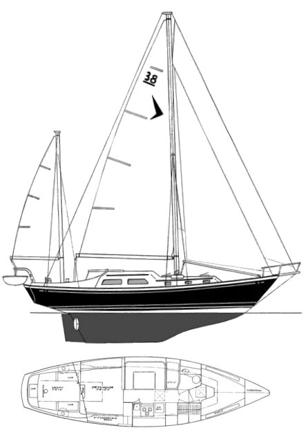SEAFARER 38 KETCH drawing