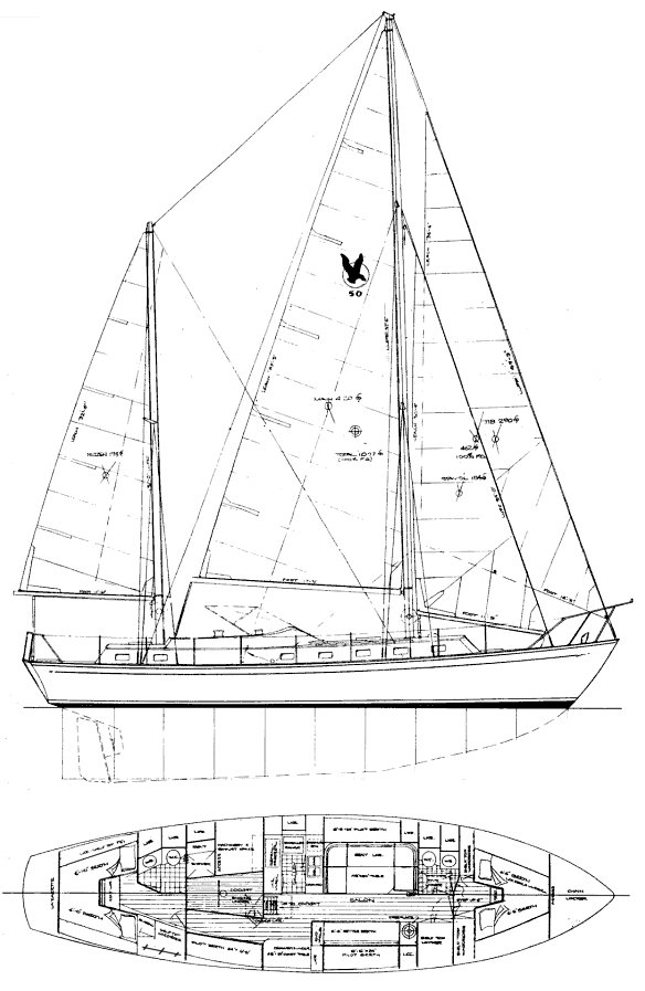 Searaker 50 drawing on sailboatdata.com