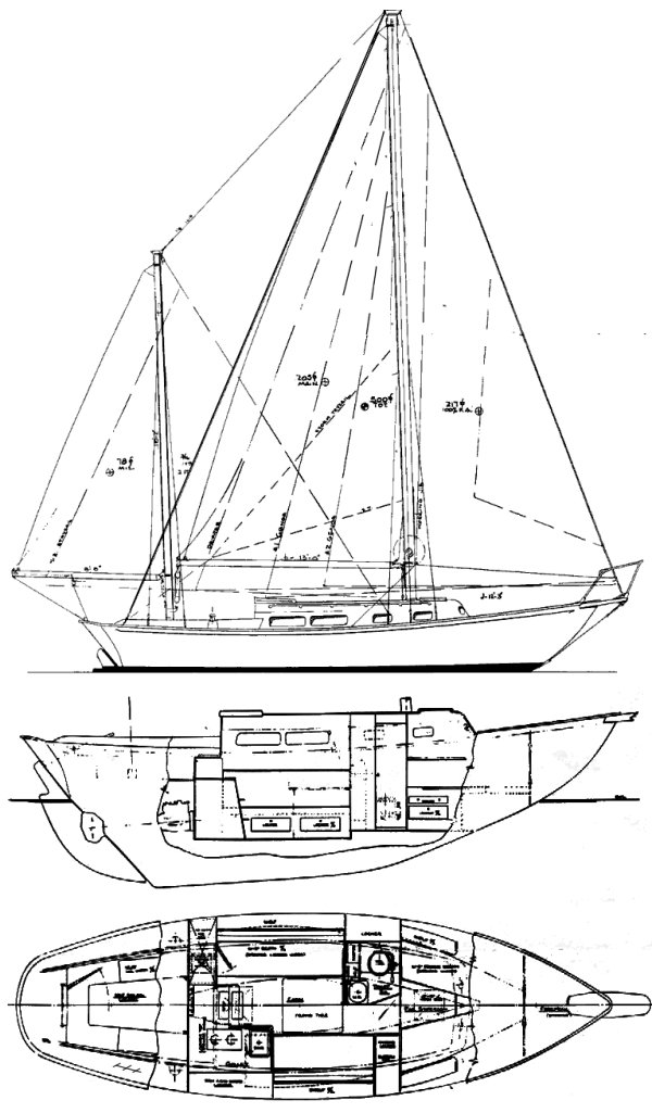 Seawind MkII (Allied) drawing on sailboatdata.com
