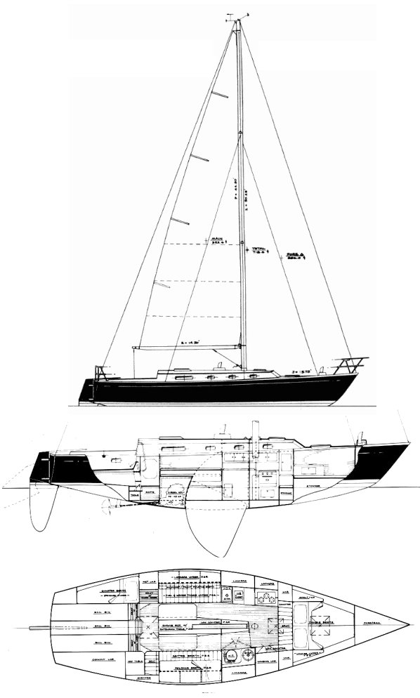 Seguin 40 drawing on sailboatdata.com