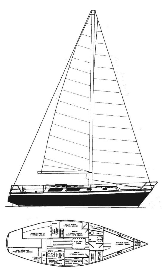 Seidelmann 37 drawing on sailboatdata.com