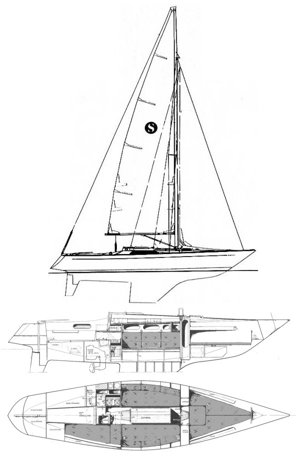 Seniorita Helmsman drawing on sailboatdata.com