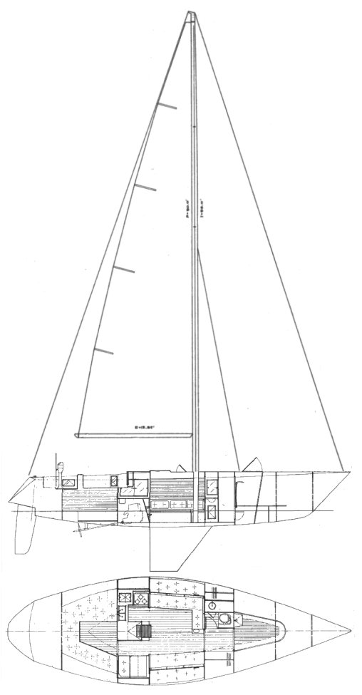 Serendipity 43 (racing) drawing on sailboatdata.com