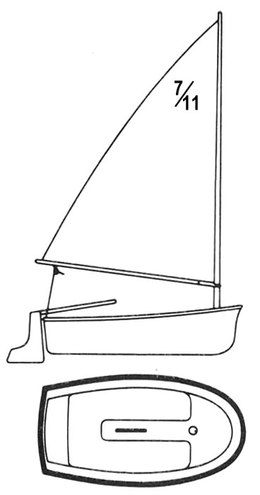 7/11 Dinghy (O'Day) drawing on sailboatdata.com