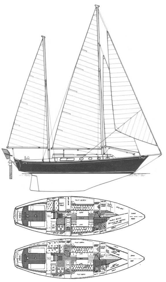 Shannon 38 drawing on sailboatdata.com