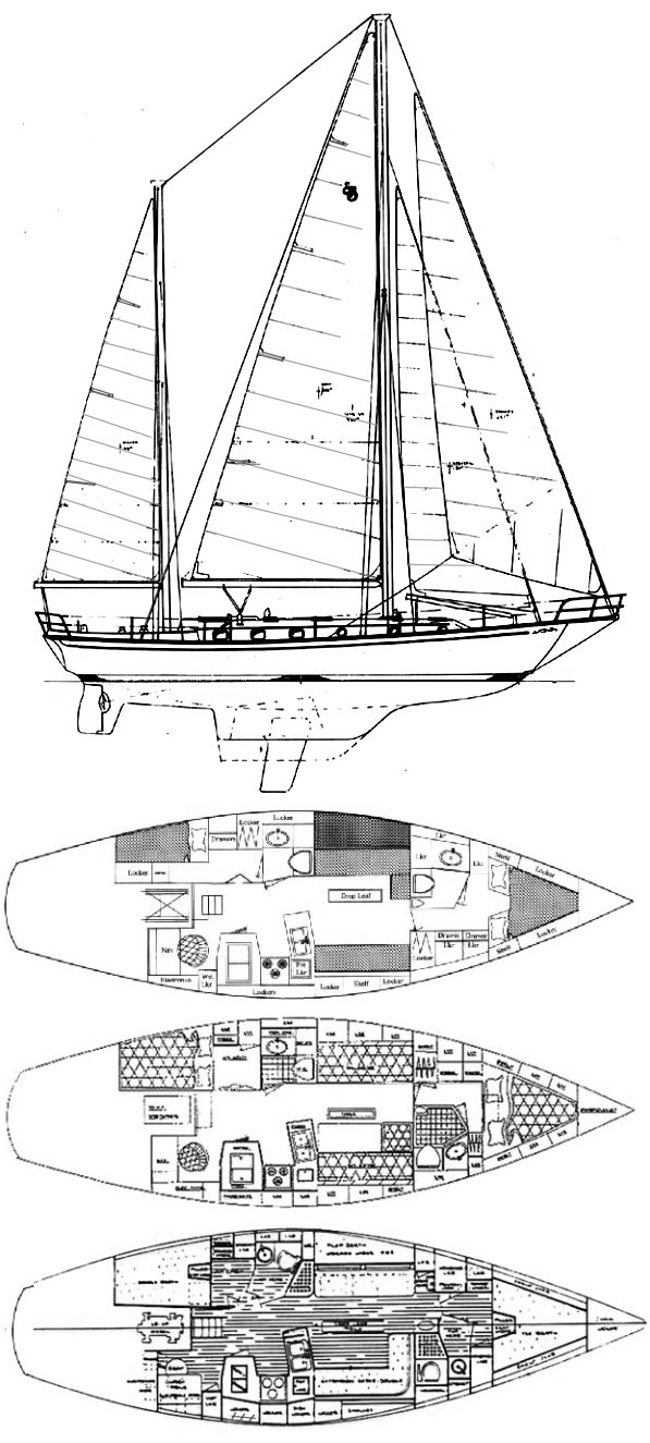 Shannon 43 drawing on sailboatdata.com