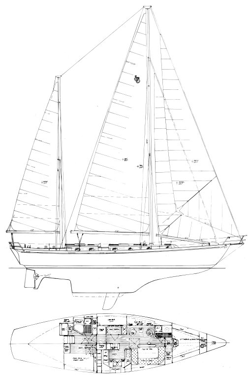 Shannon 50 drawing on sailboatdata.com