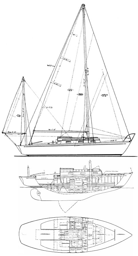 Shaw 24 drawing on sailboatdata.com