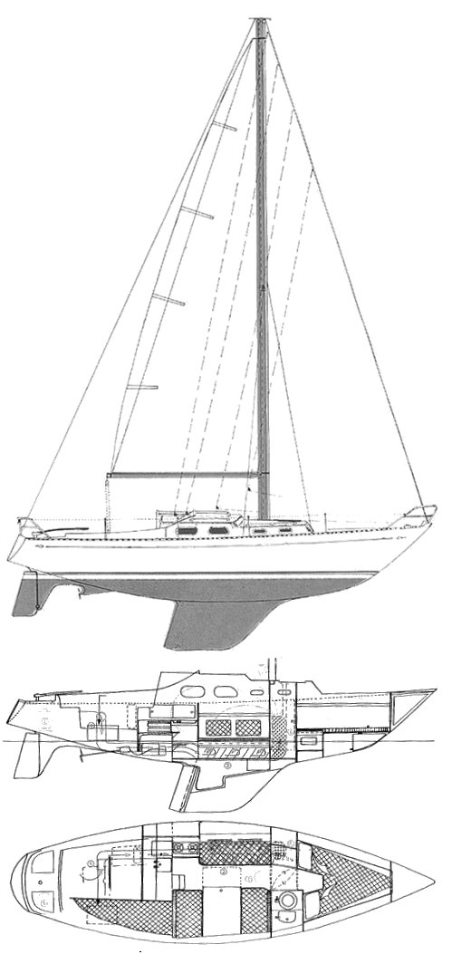 Shipman 28 drawing on sailboatdata.com