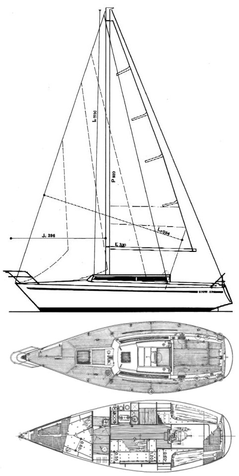 Show 29 drawing on sailboatdata.com
