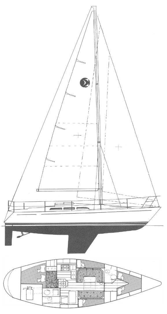 Sigma 41 (MH) drawing on sailboatdata.com