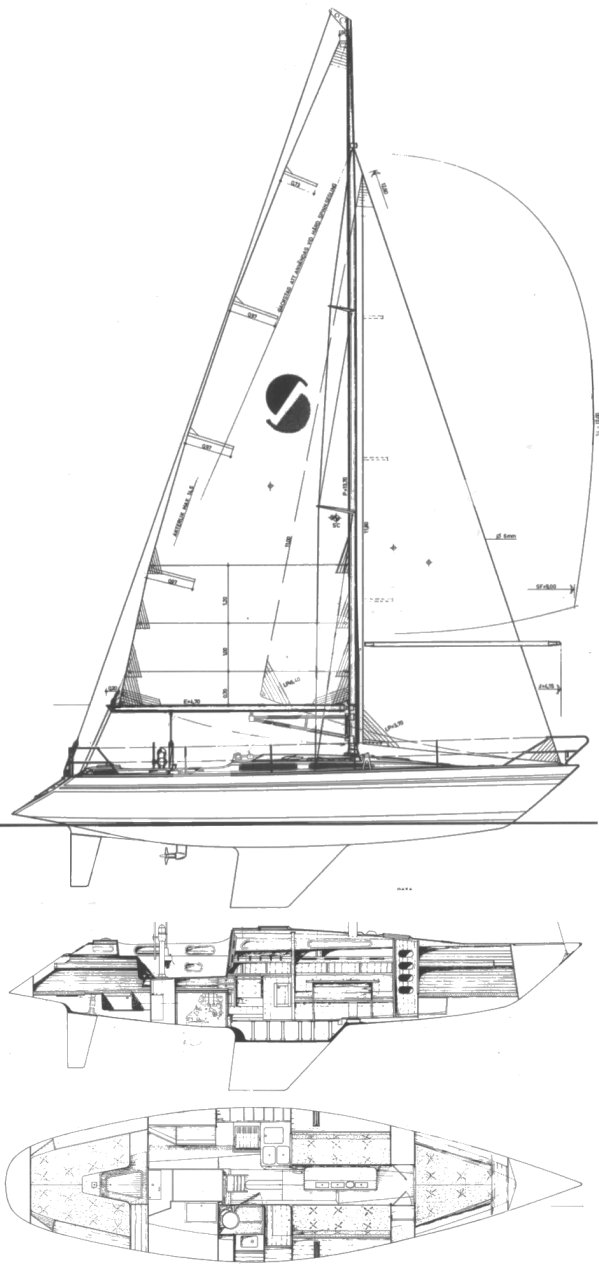 Sirena 38 drawing on sailboatdata.com
