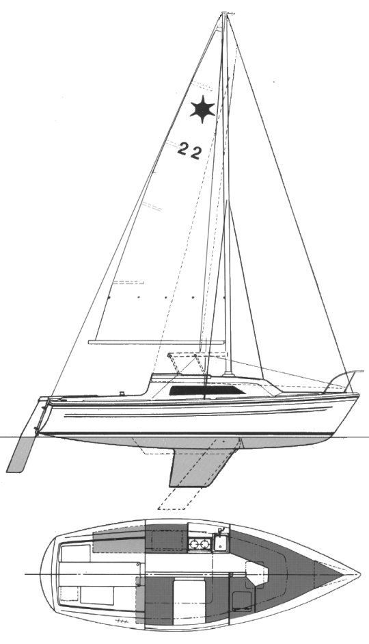 Sirius 22 drawing on sailboatdata.com