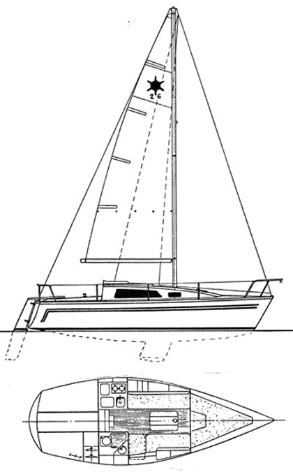 Sirius 26 drawing on sailboatdata.com