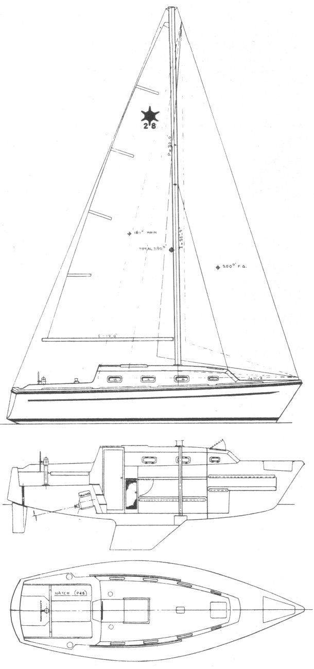 Sirius 28 drawing on sailboatdata.com