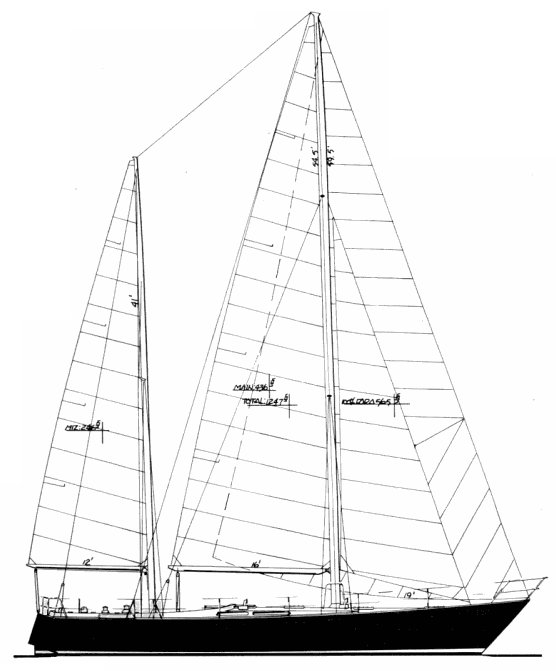 Skye 51 (Ketch) drawing on sailboatdata.com