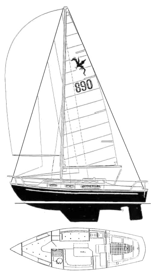 Snapdragon 890 drawing on sailboatdata.com