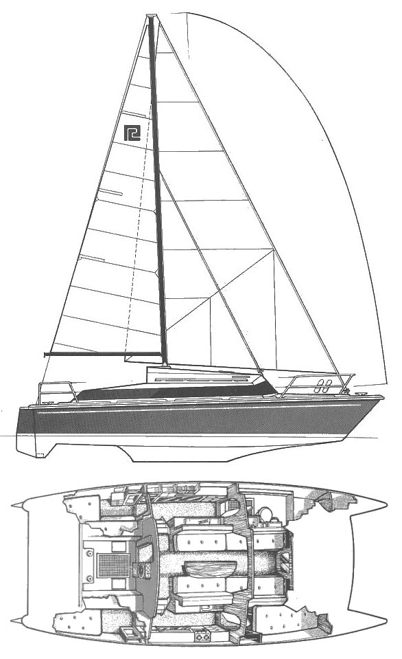 Snowgoose 37 (Prout) drawing on sailboatdata.com