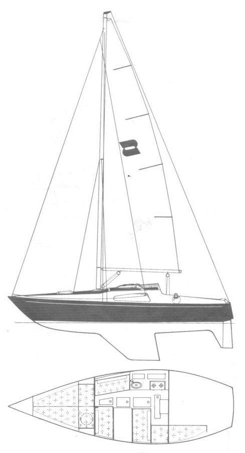 Solus 24 drawing on sailboatdata.com