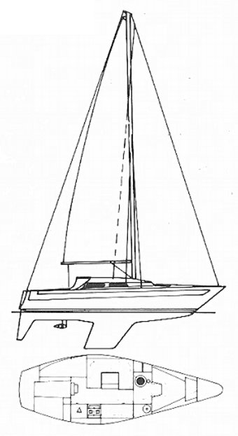 Solus 29 drawing on sailboatdata.com