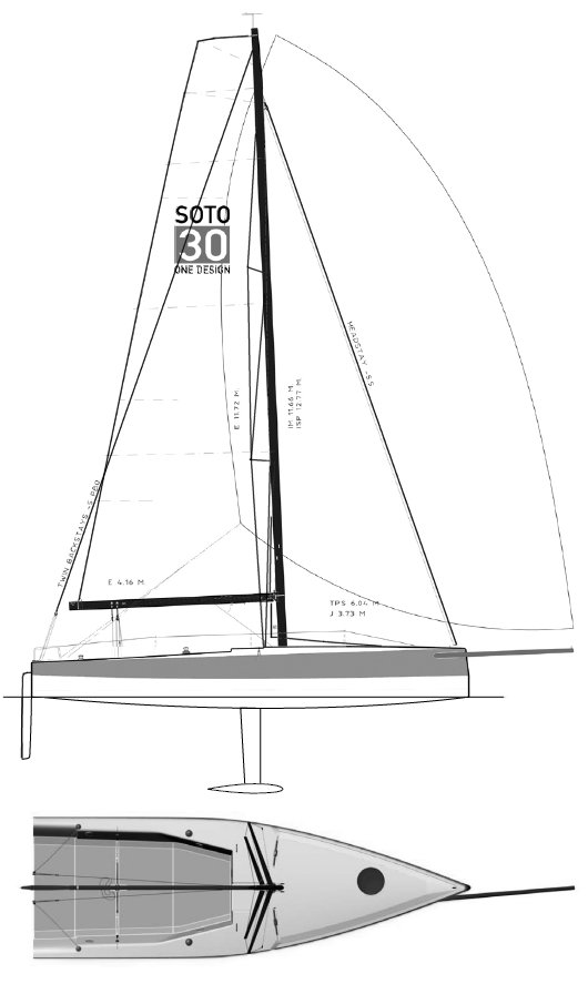 Soto 30 drawing on sailboatdata.com