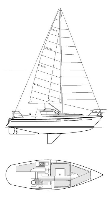 Southerly 101 drawing on sailboatdata.com