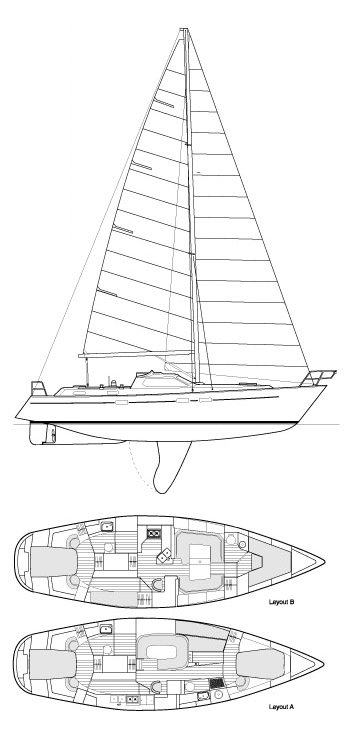 Southerly 135 drawing on sailboatdata.com