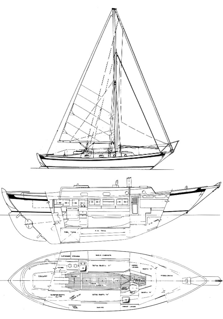 Southern Cross 31 drawing on sailboatdata.com