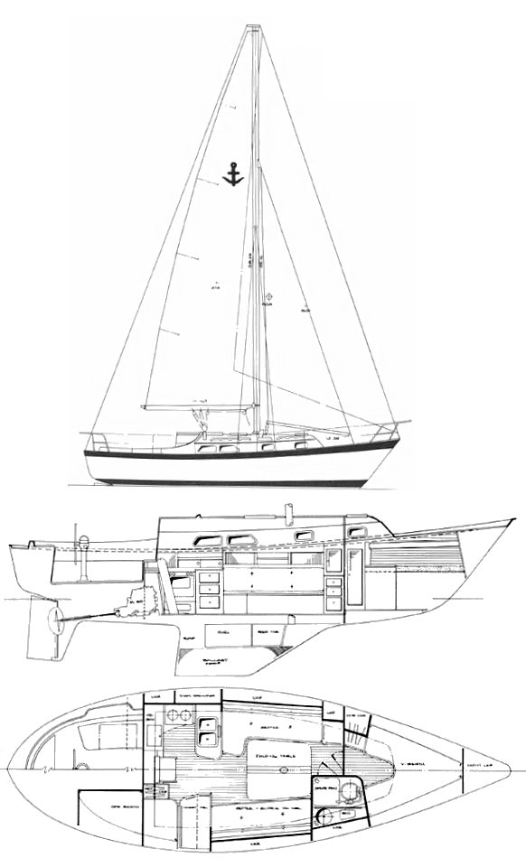 Southern Cross 32 drawing on sailboatdata.com